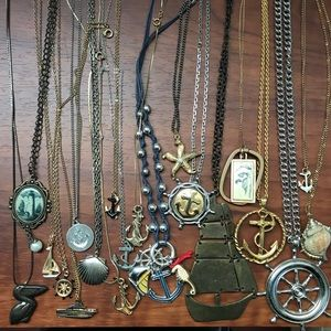 BUNDLE 20 Nautical, Ocean Theme, Vintage Necklaces